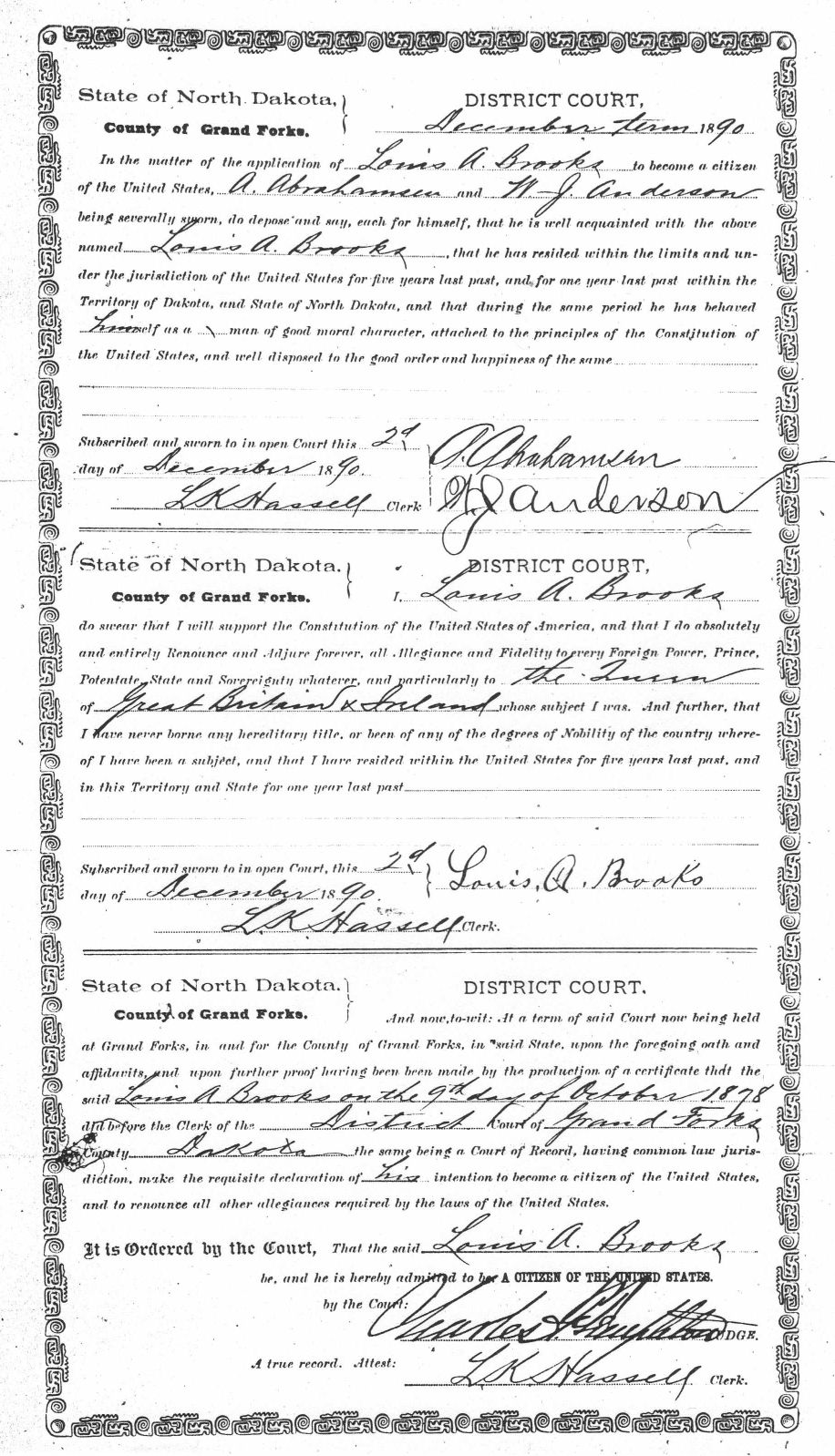 Louis Achille Brooks 2nd and final filing for US Naturalization
